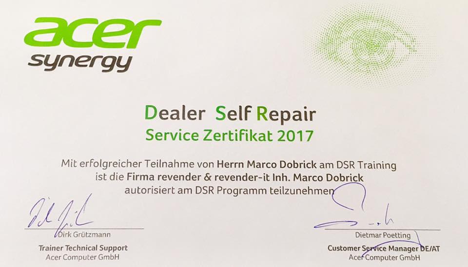 Acer DSR Zertifikat 2017